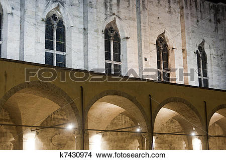 Stock Photo of Ascoli Piceno (Marches, Italy): Cloister of ancient.