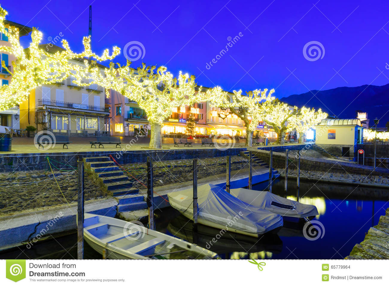 The Lake Promenade Piazza Mota, Ascona Editorial Stock Image.