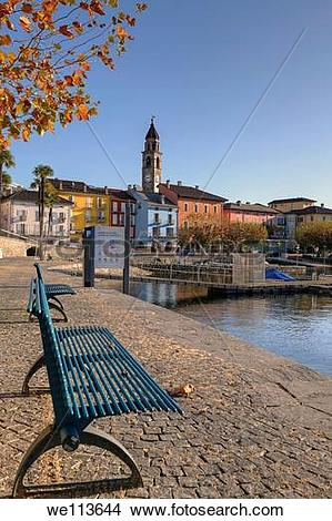 Stock Photo of Autumn on the lakefront Ascona, Ticino, Switzerland.