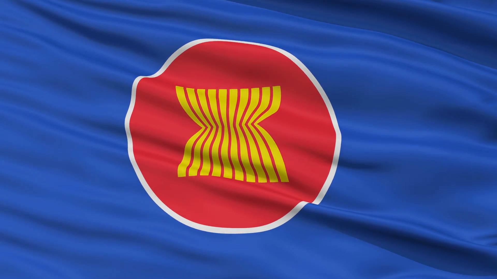 Asean Flag Close Up Realistic Animation Seamless Loop.