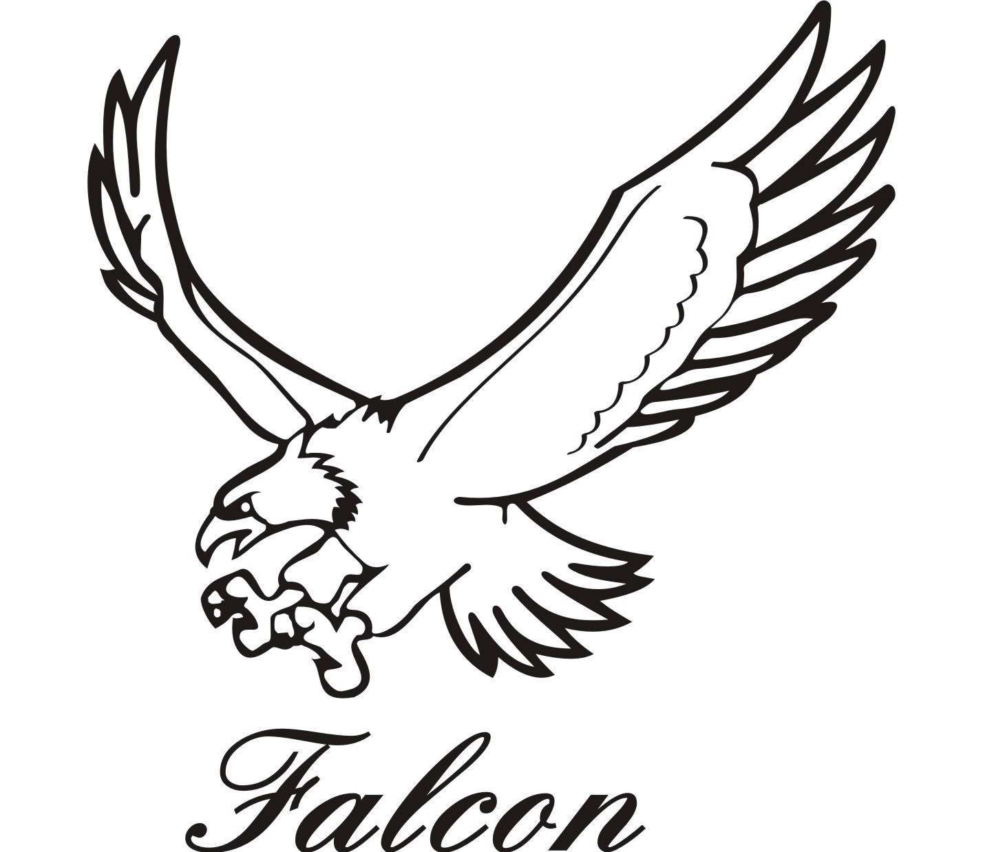 Falcon Clipart Black And White.