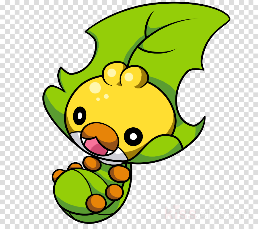 Leaf Pokemon Black And White clipart.