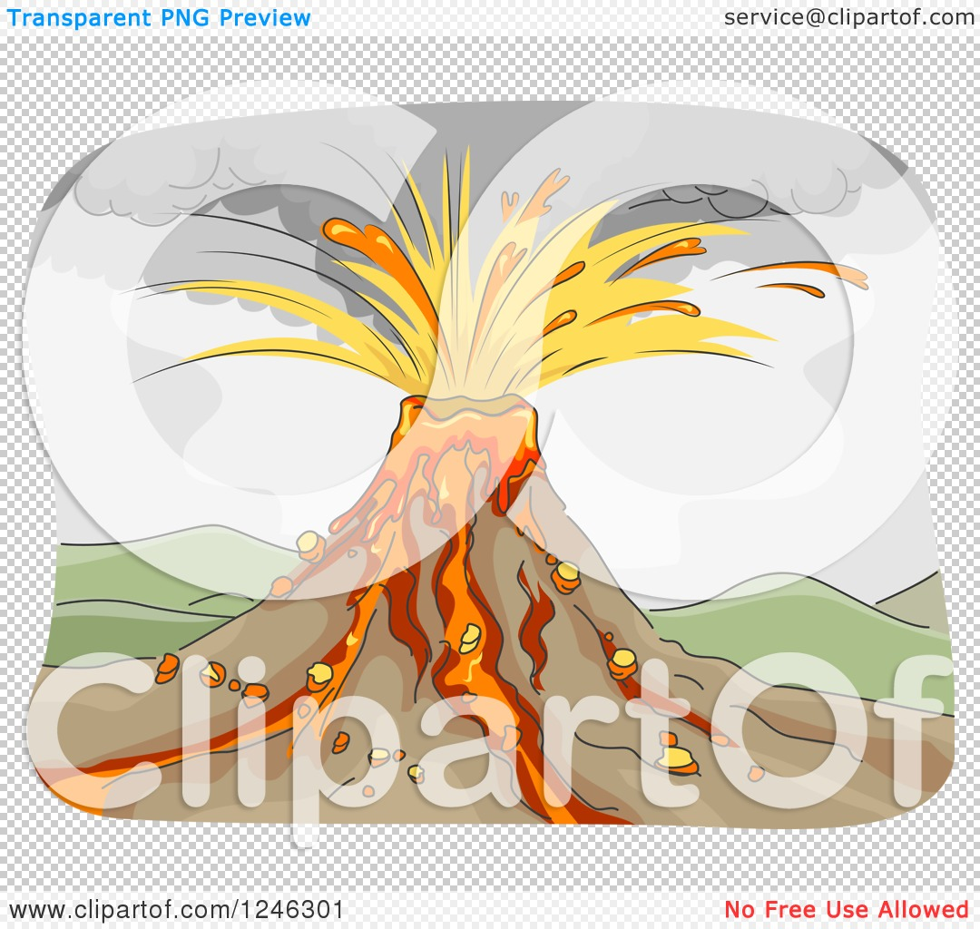 Clipart of a Volcano Erupting with Lava and an Ash Cloud.