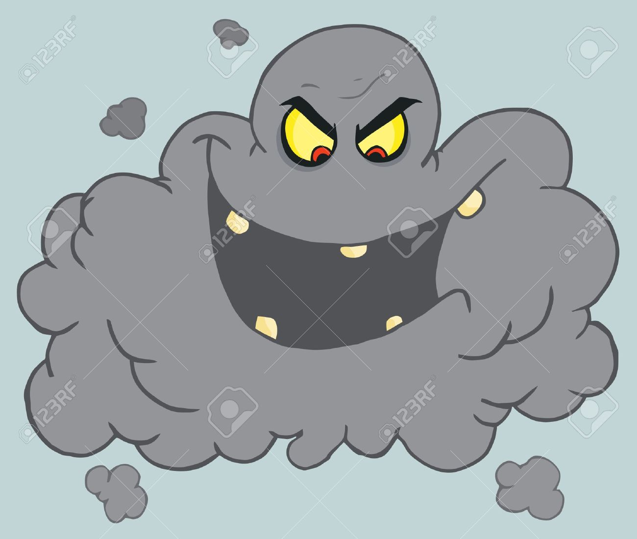 Evil Black Volcanic Ash Cloud Laughing Royalty Free Cliparts.