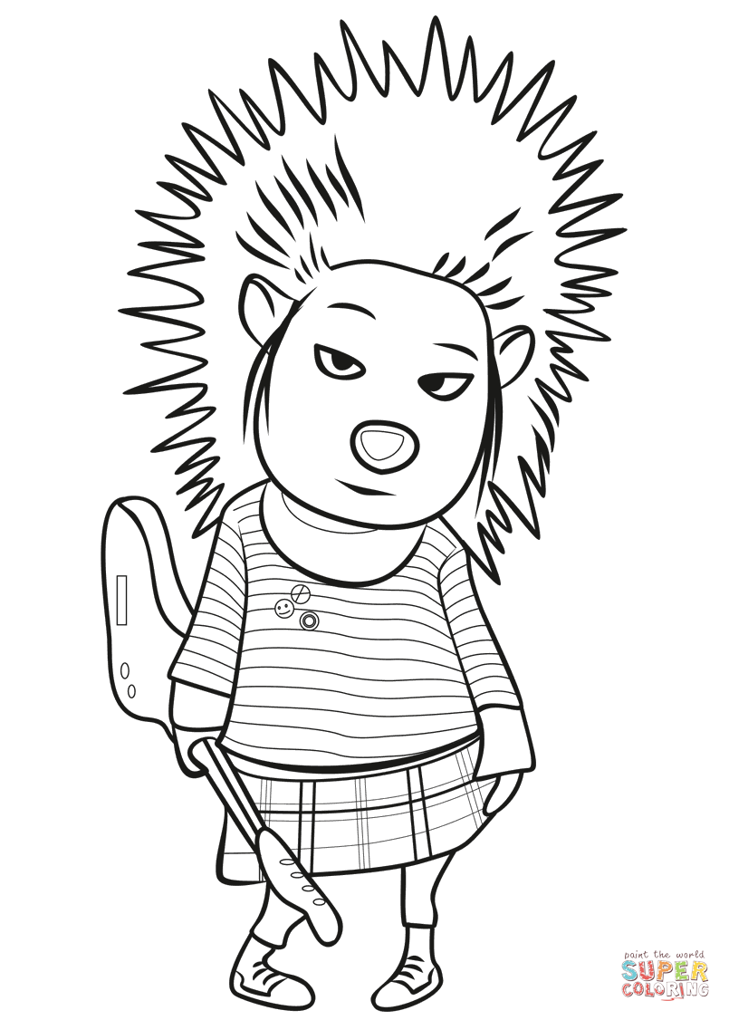 Porcupine Ash from Sing coloring page.
