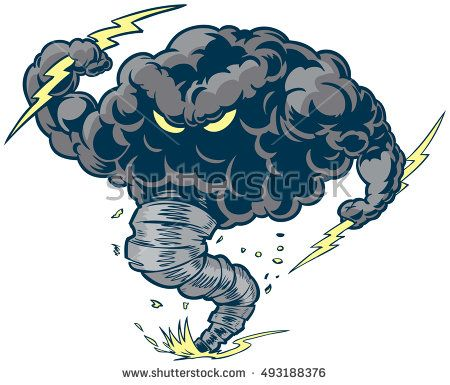 Vector #cartoon #clipart #illustration of a tough #thundercloud or.
