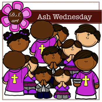 Ash Wednesday Digital Clipart (color and black&white).