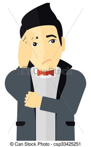 Clipart Vector of Ashamed young man..