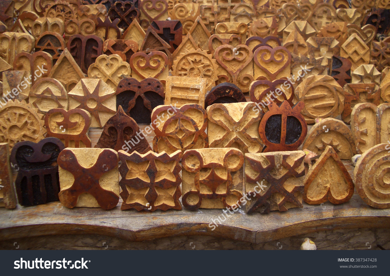 Carved Stamps Used Print Symbols On Stock Photo 387347428.