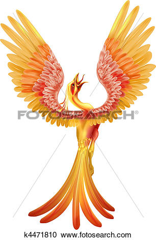 Clipart of A phoenix rising from the ashes k4471810.