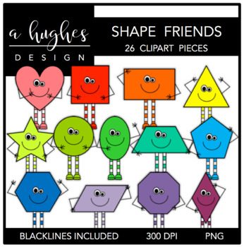 2D Shape Friends Clipart {A Hughes Design}.