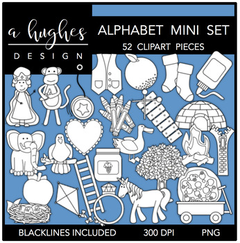 Mini Alphabet Clipart {A Hughes Design}.