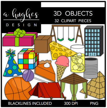 3D Objects Clipart {A Hughes Design}.