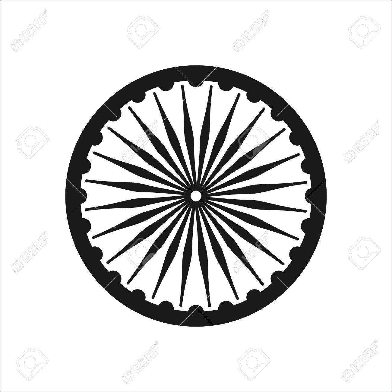 Ashoka Chakra symbol sign silhouette icon on background.