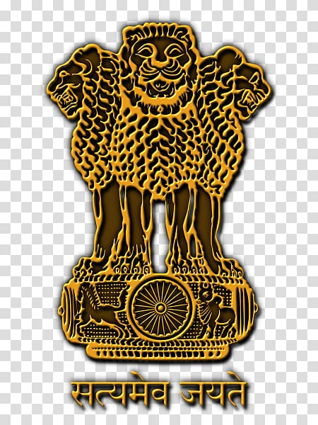 Yellow and brown lion illustration, State Emblem of India.
