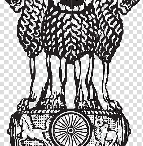 Black statue illustration, Lion Capital of Ashoka Sarnath.