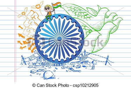 Vector Clipart of Ashok Chakra on Tricolor Doodle.