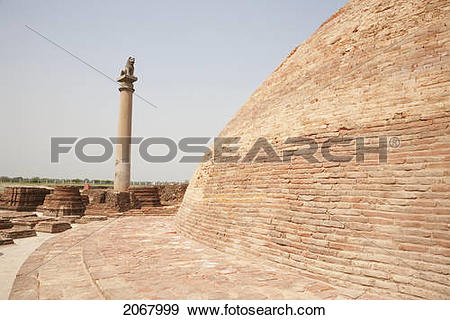 Stock Photograph of Stupa And Ashoka Pillar In Vaishali, Bihar.