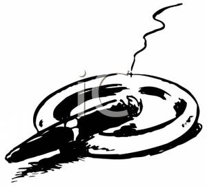 Black and White Cigar Balanced on an Ashtray Clip Art Image.