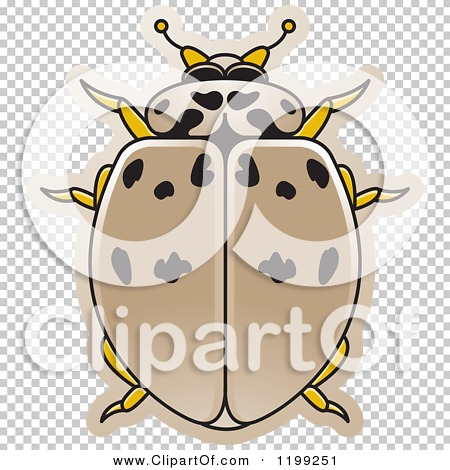 Clipart of a Tan Ashy Gray Lady Beetle.