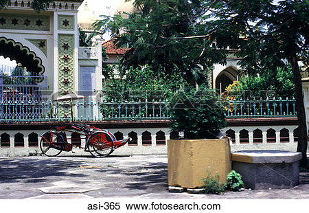 Stock Image of Rickshaw and Railings Penang Malaysia Asia asi.