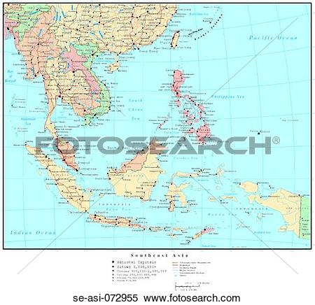 Stock Image of Map of Southeast Asia, with Country Boundaries se.