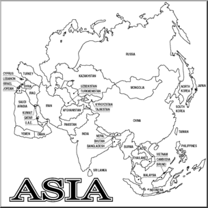 Asia Map Clipart Black And White.