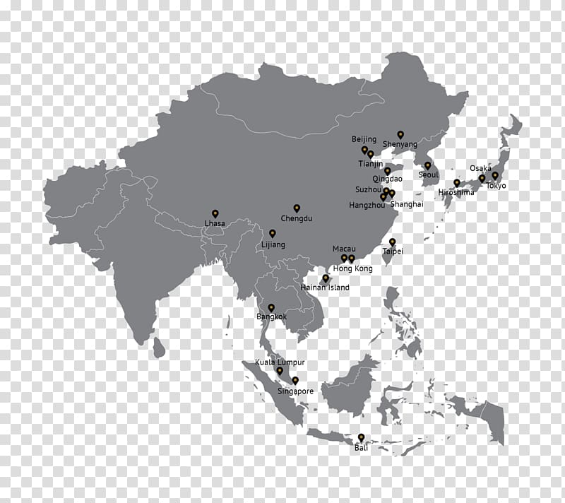 Asia World map, southeast asia travel transparent background.