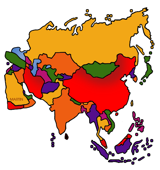 Asia Clip Art by Phillip Martin, Asia Map.