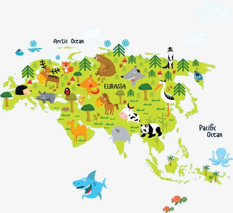 Animals asia map PNG clipart.