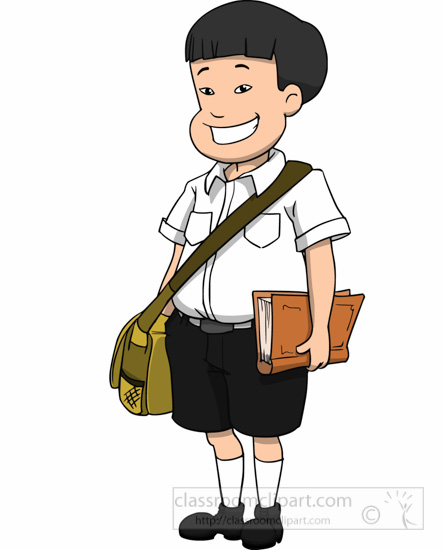 Asian Male Student Smiling With Sachel Book Clipart.