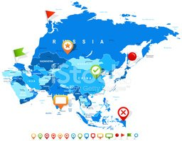 Asia Map and Navigation Icons Illustration stock vectors.