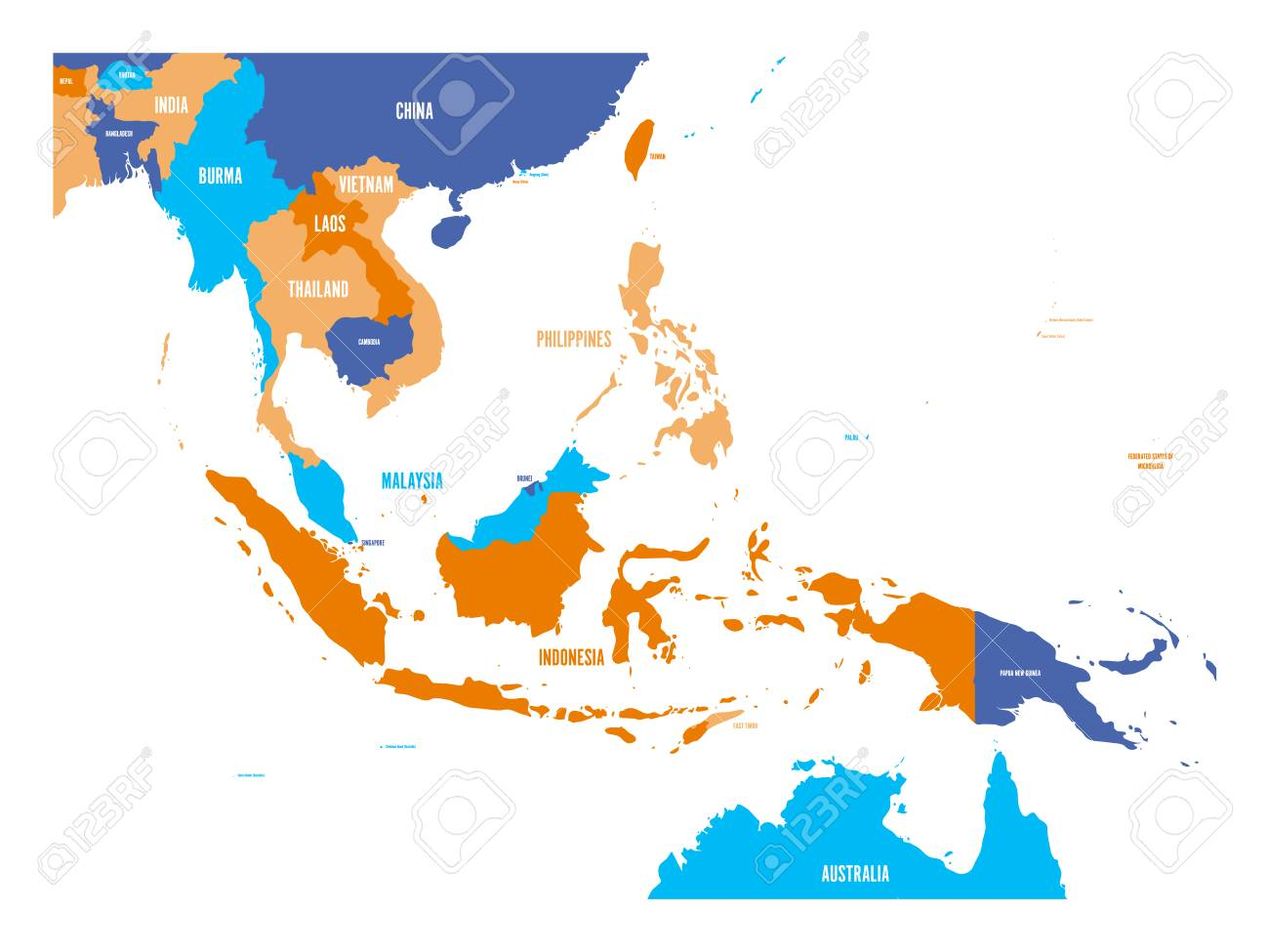 Vector map of Southeast Asia..