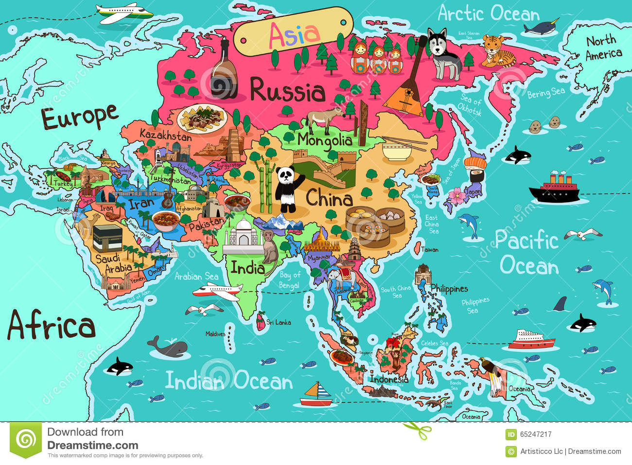 Asia Map stock vector. Illustration of illustration, clipart.