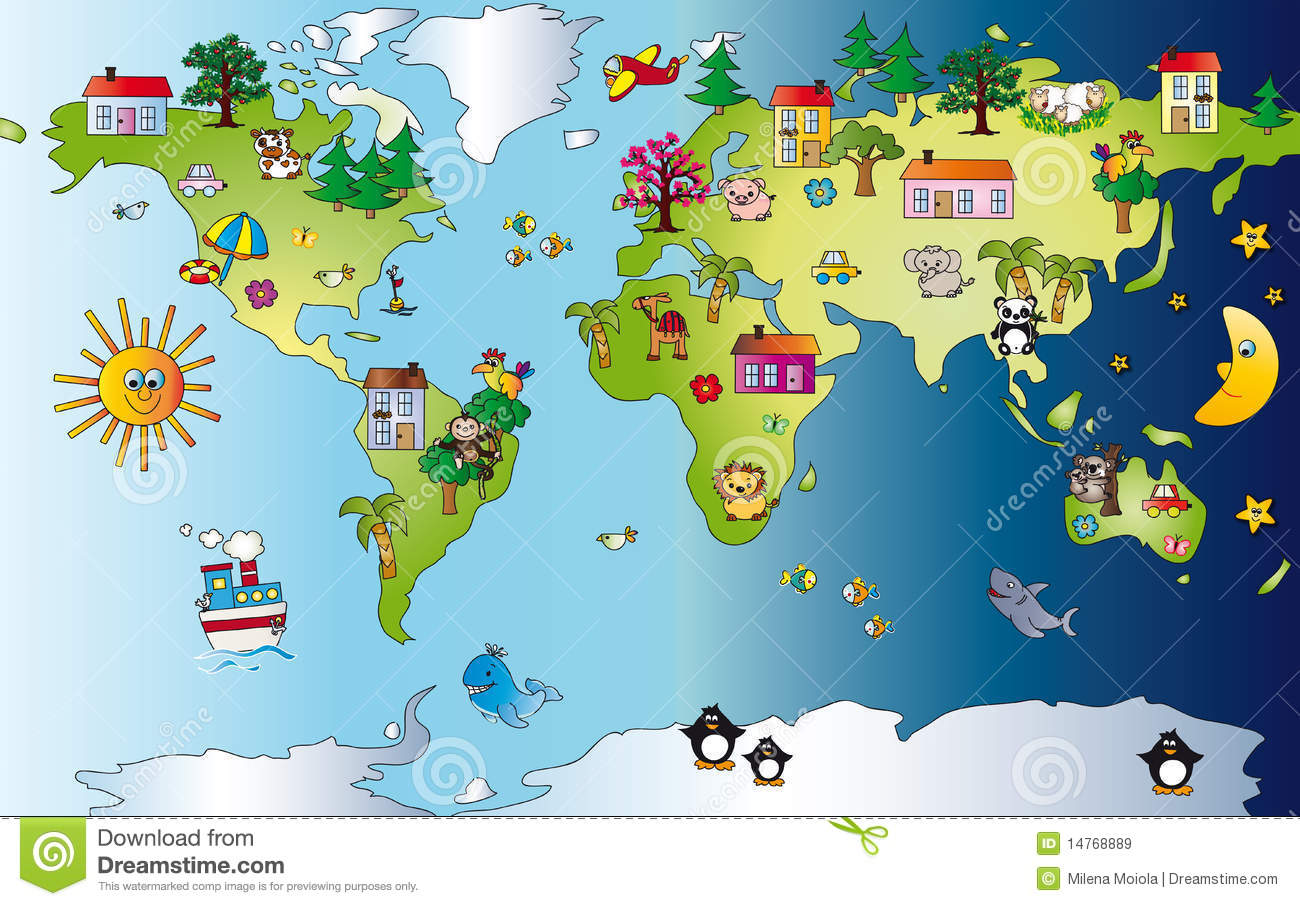 World Map Clipart For Kids.
