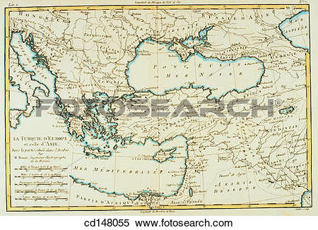 Stock Image of Southern Europe and Asia Minor, 18th century map.