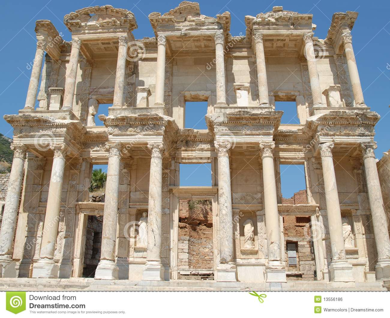 Celsus Library, In Ephesus, Asia Minor, Turkey Royalty Free Stock.