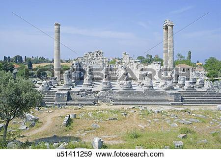 Stock Photograph of Temple of Apollo, Didyma, Anatolia, Turkey.