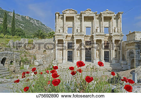 Stock Photography of Library of Celsus, Ephesus, Turkey, Asia.