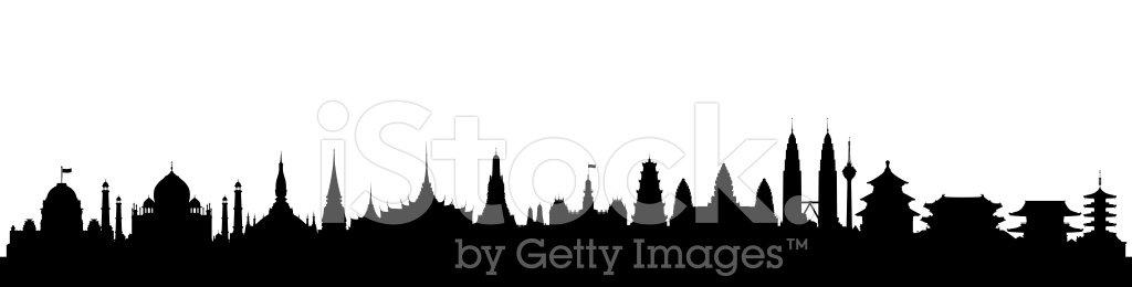 Asia Skyline Clipart Image.