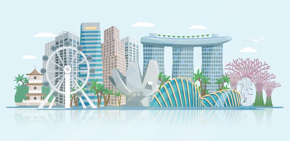 Singapore Skyline Flat Panoramic View Poster.