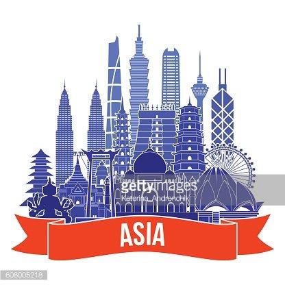 Asia skyline detailed silhouette. Vector illustration.