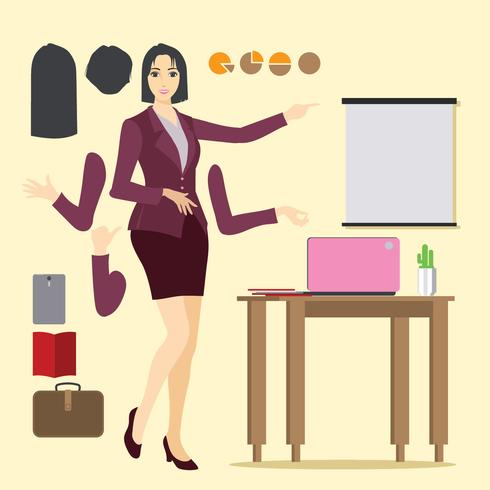 Illustration of Asian Professional Woman with Businesswoman.