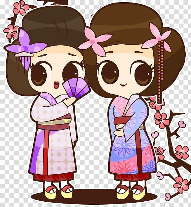 Cartoon Animation Anime Geisha, asian girl transparent.