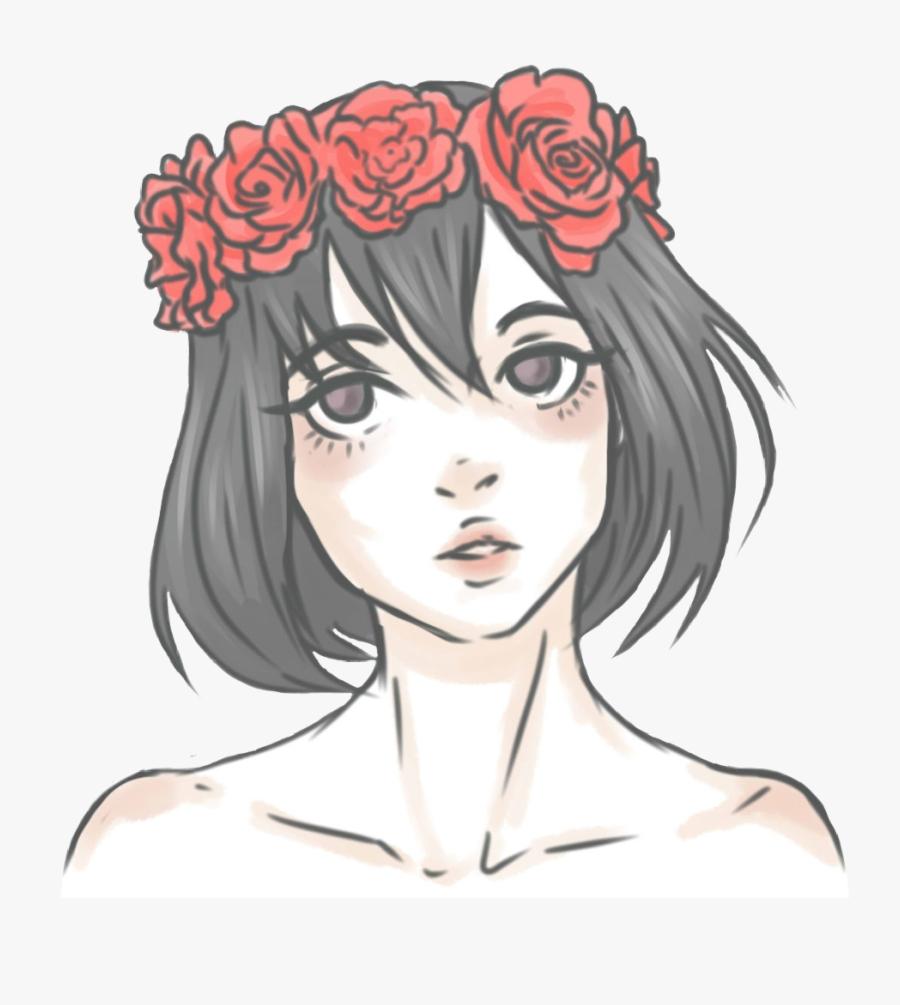 Girl Asian Anime Kawaii Flowercrown Flowers Red Roses.