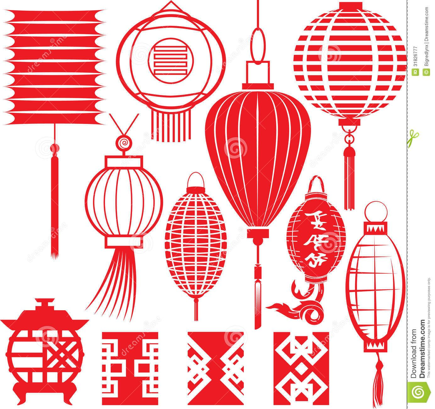 Illustration about Clip art collection of chinese lantern.