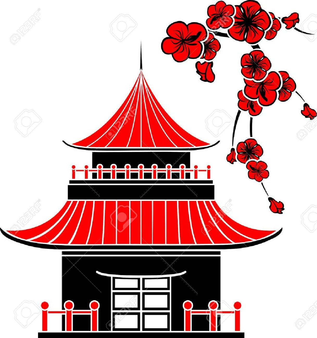 asian house cherry blossoms stencil stock vector japanese.