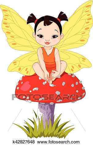 Cute Asian Baby Fairy On Mushroom Clip Art.