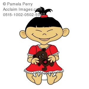 asian baby girl holding a teddy bea clipart & stock photography.