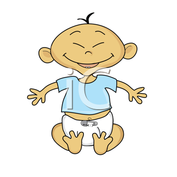 Royalty Free Clipart Image of a Smiling Baby.